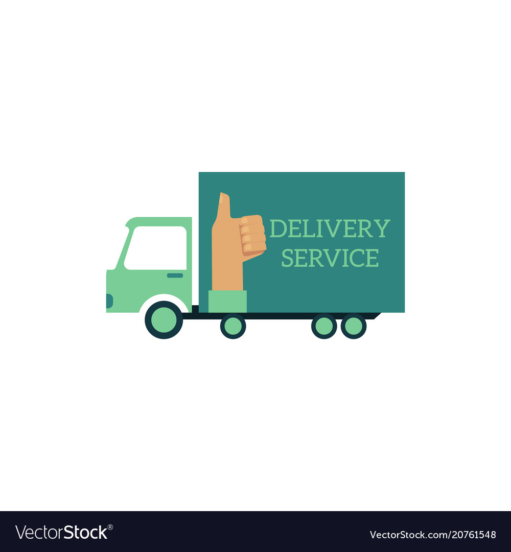 Flat delivery vehicle truck icon