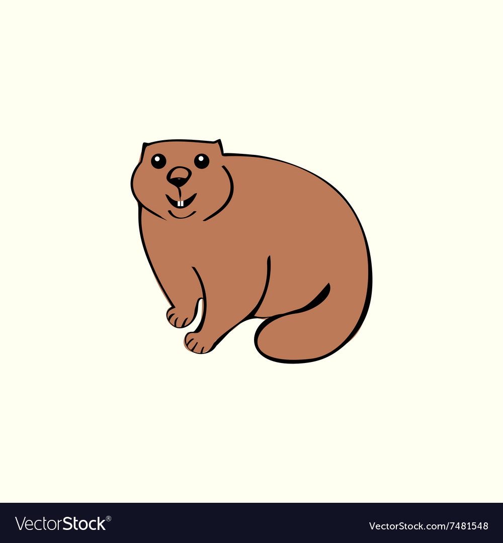 Funny marmot animal rodent vector image