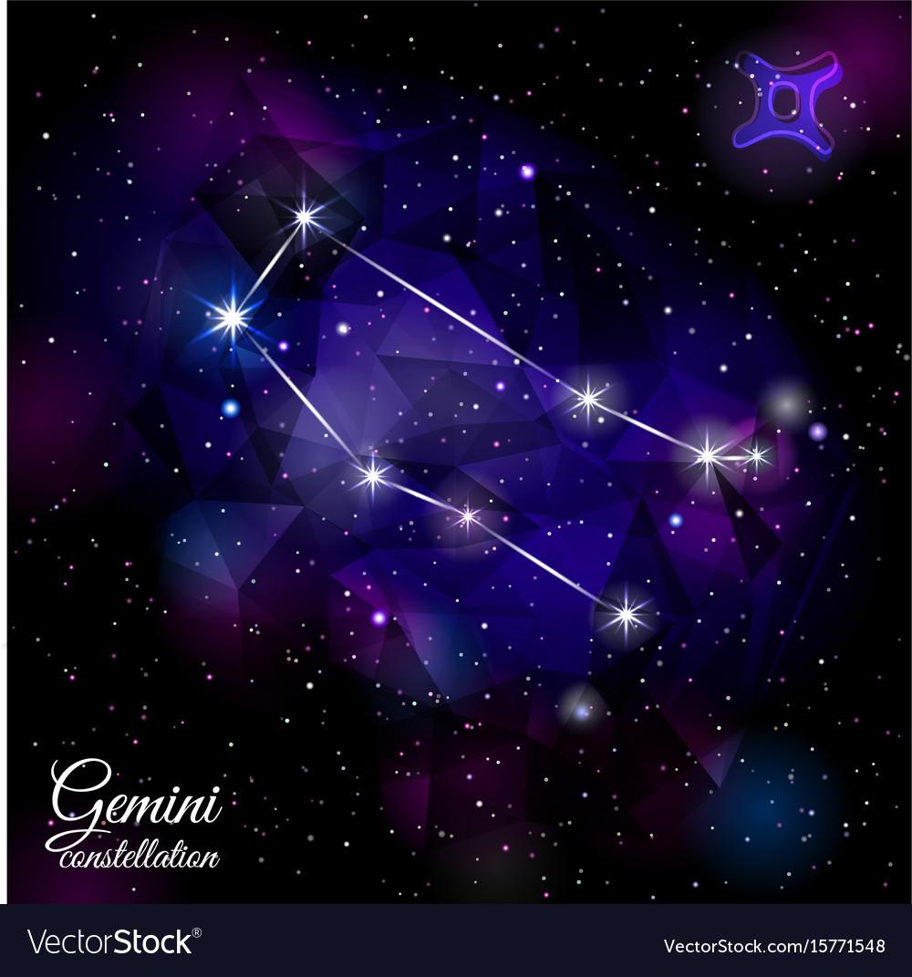Gemini constellation with triangular background