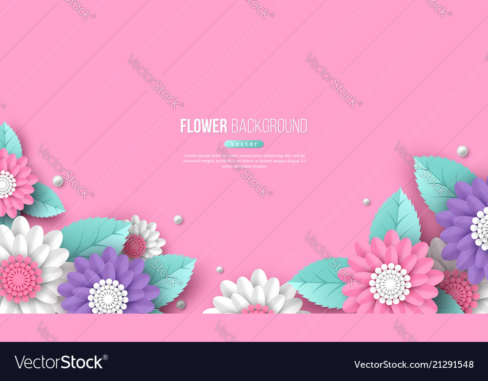 Horizontal banner with paper cut 3d flowers in vector image mightylinksfo