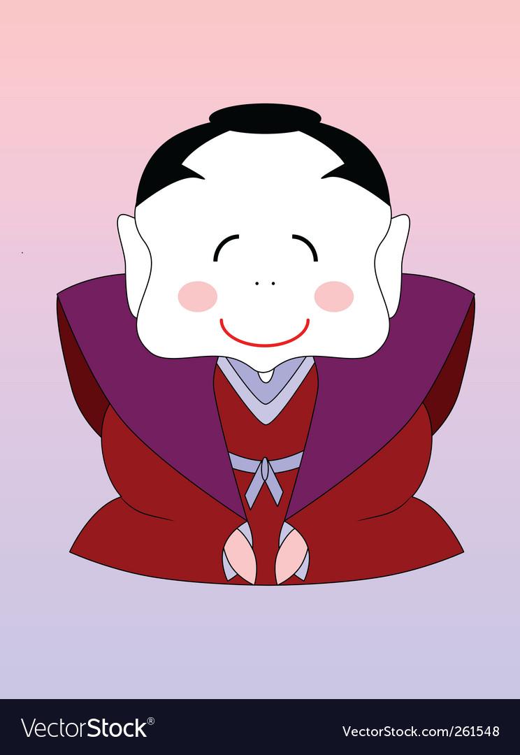 Japanese cartoon samurai vector image