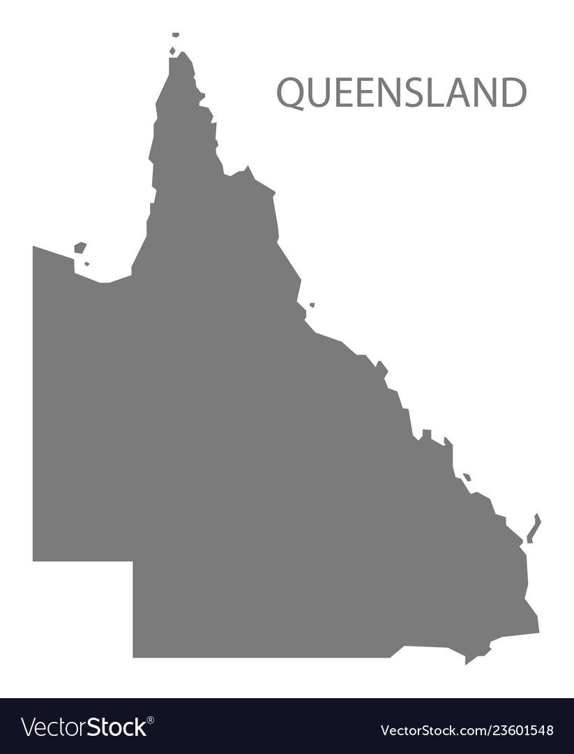 Australia Map Grey.Queensland Australia Map Grey Royalty Free Vector Image
