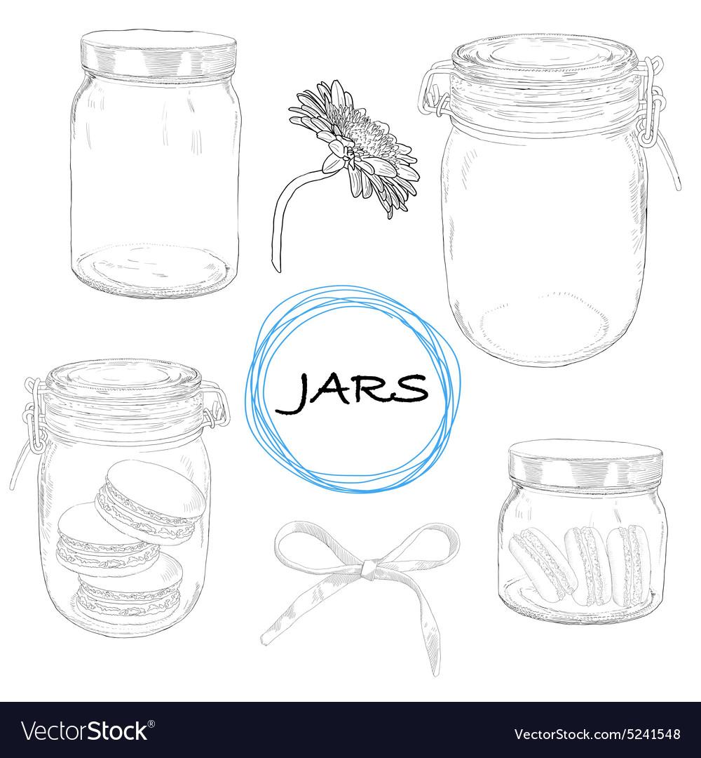 Set hand drawn jars Vintage