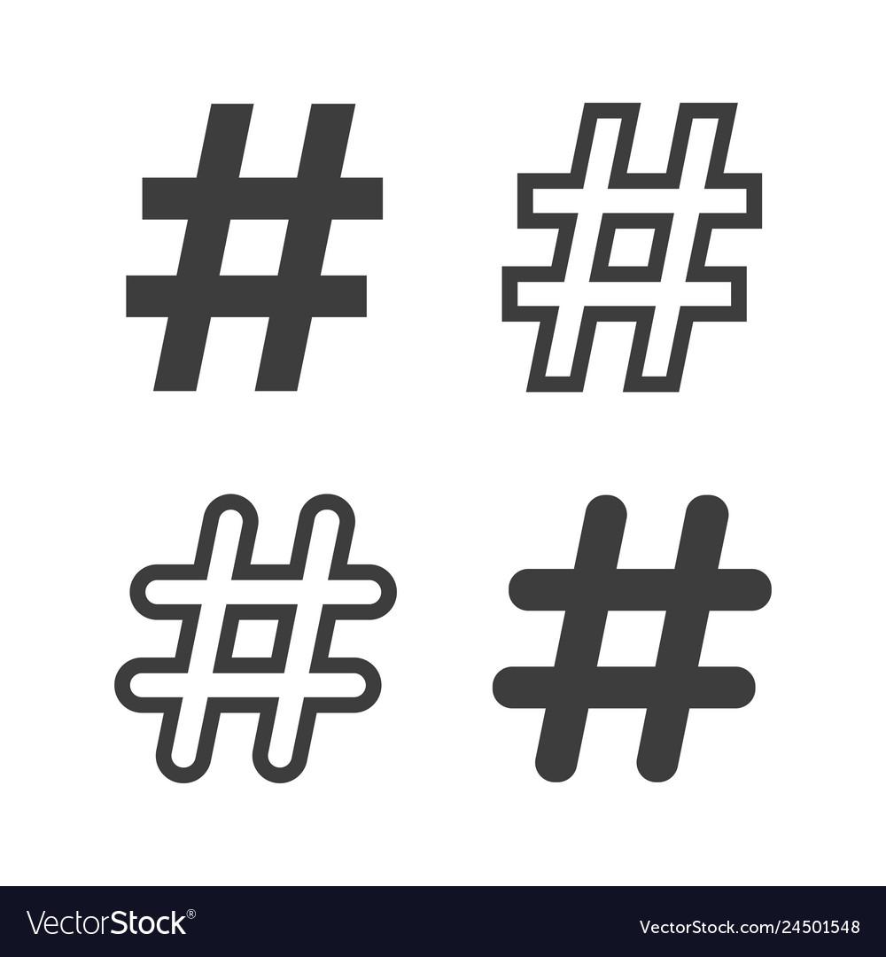 Set of hastags symbols