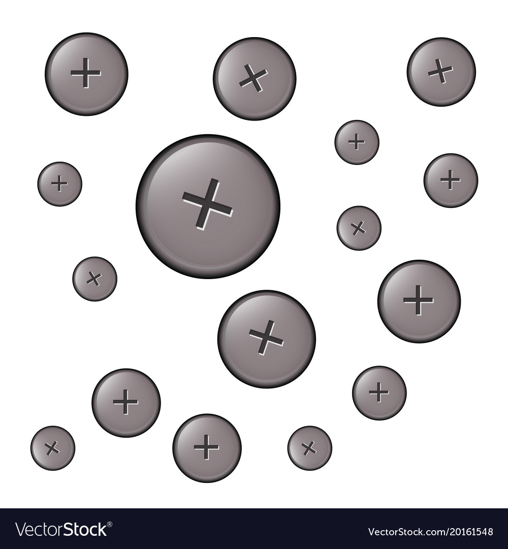 Set of hats bolts of different sizes vector image