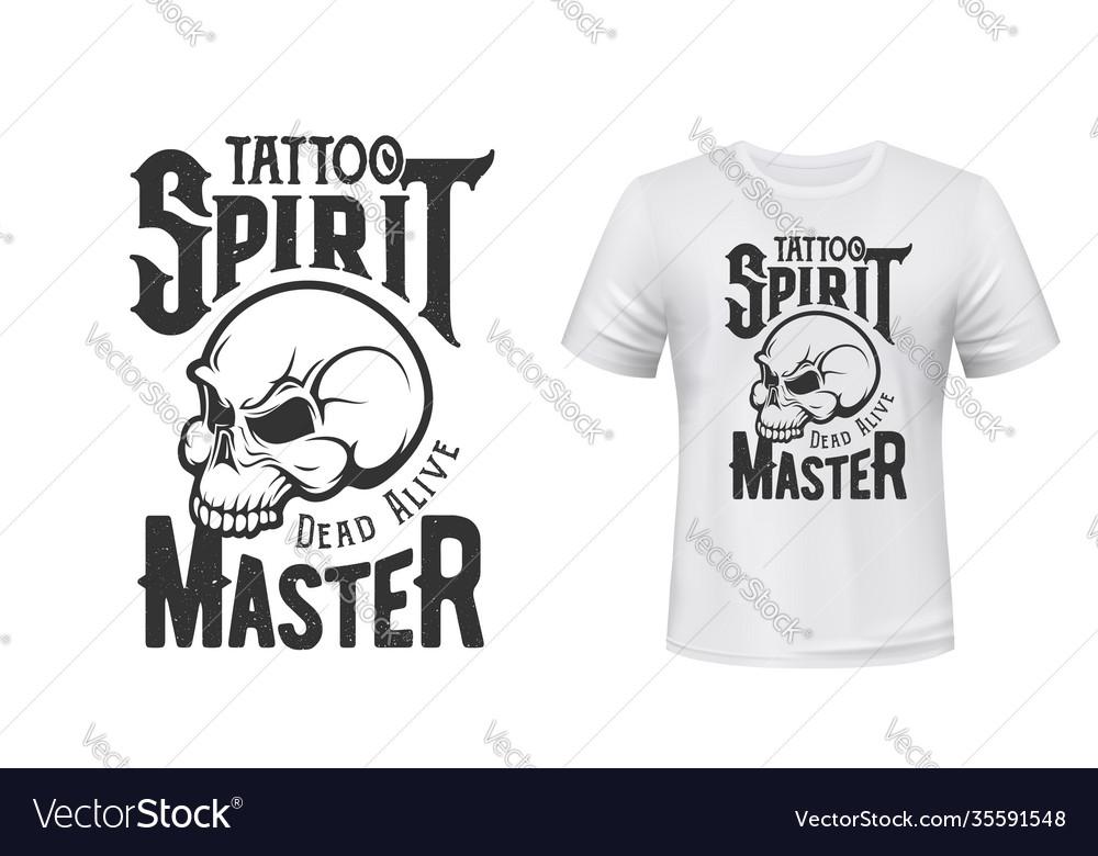 Tattoo master skull t-shirt print mockup studio