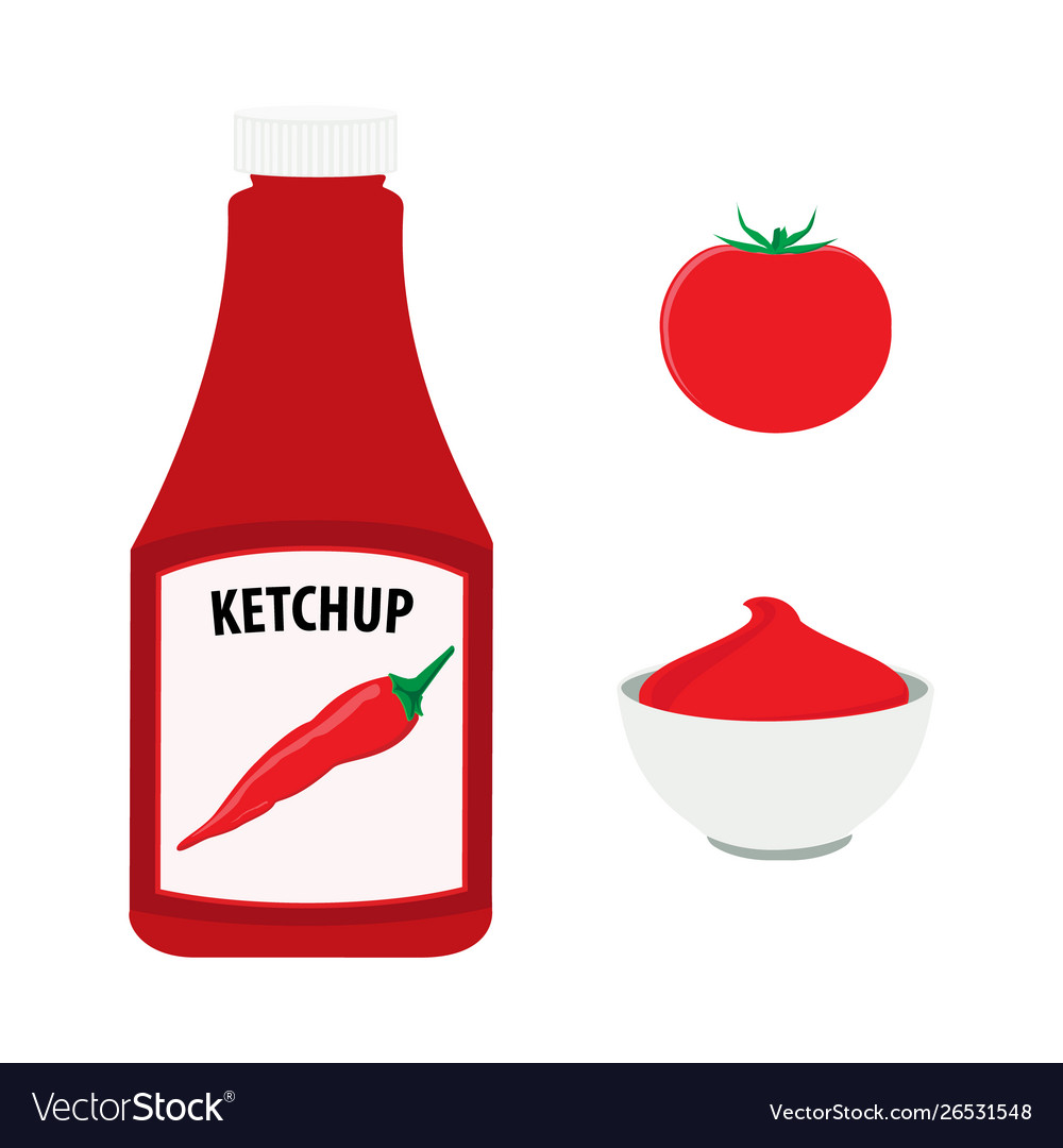 Tomato ketchup with hot chili pepper bottle whole