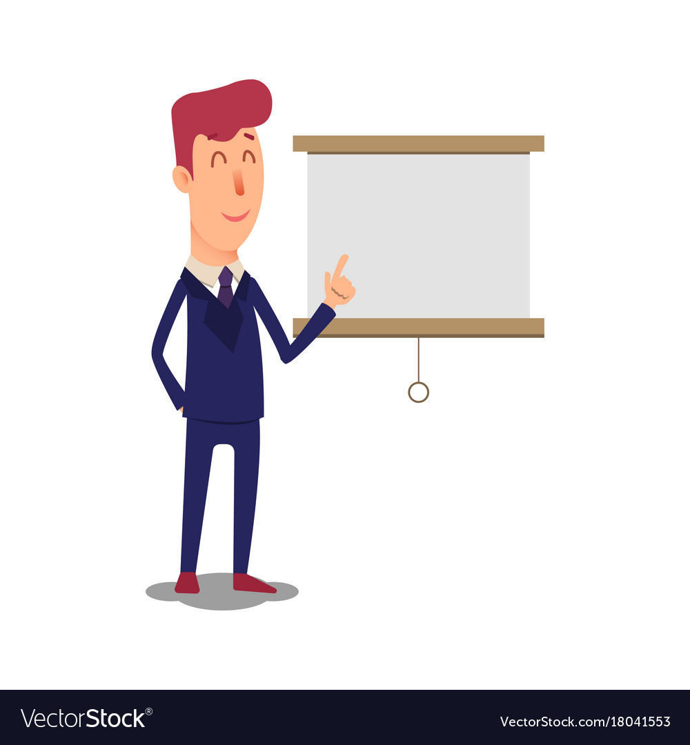 Business man character points to the board vector image