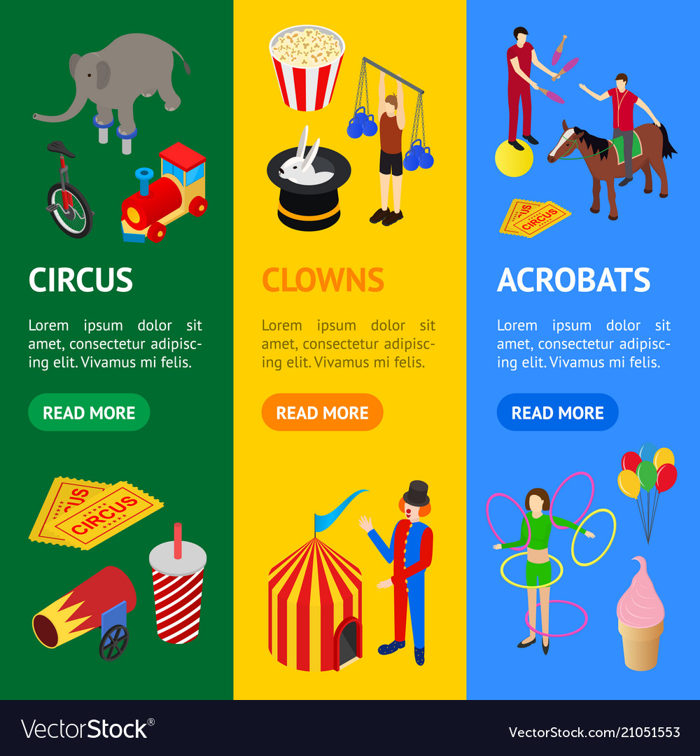 Circus amusement and attraction banner vecrtical