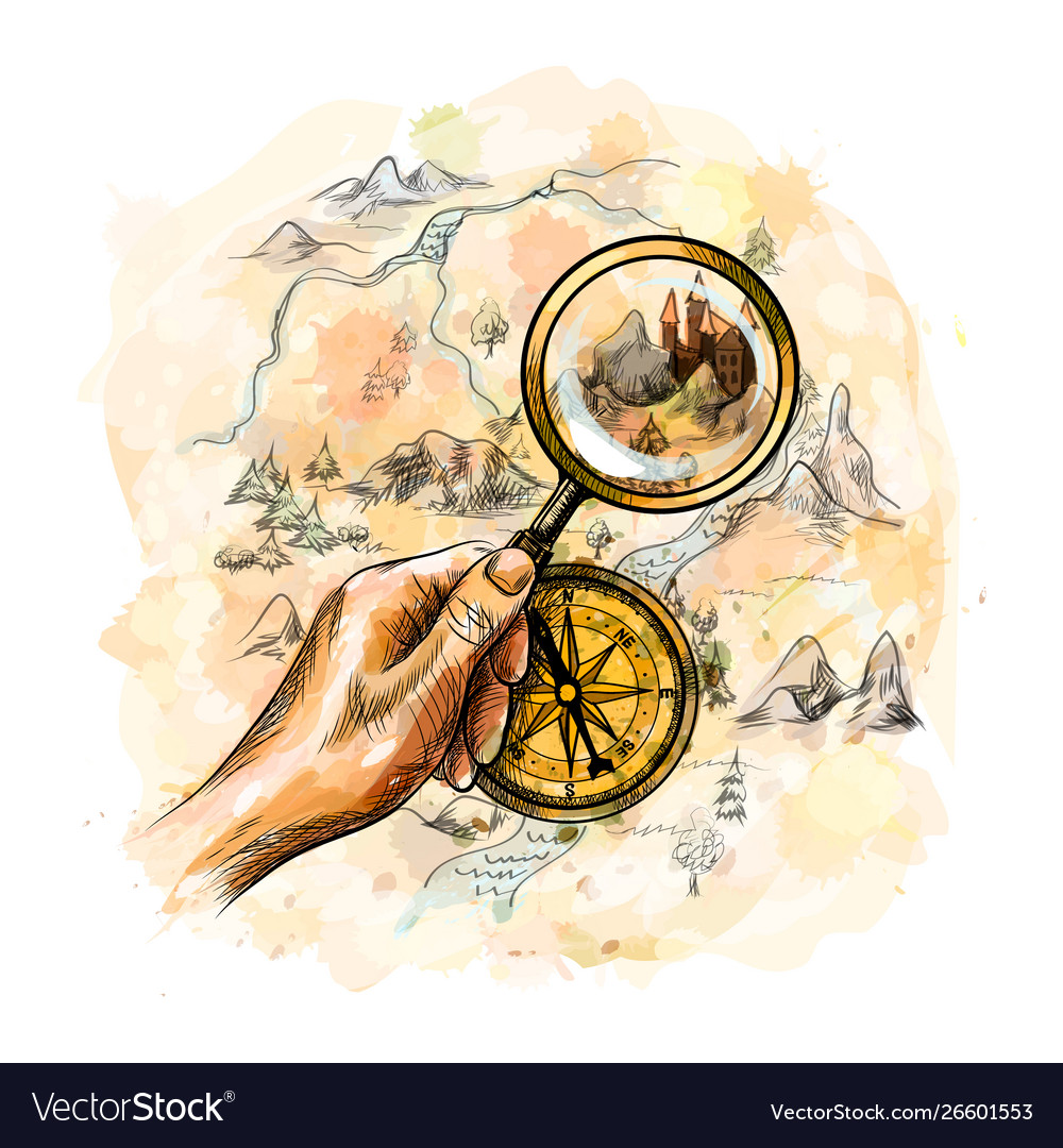 Compass and magnifying glass with treasure map