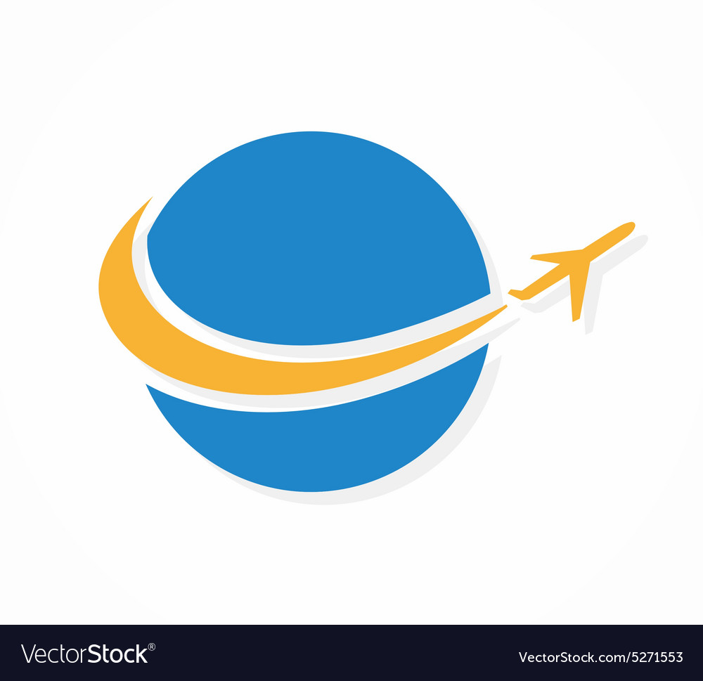 globe and airplane logo or icon royalty free vector image