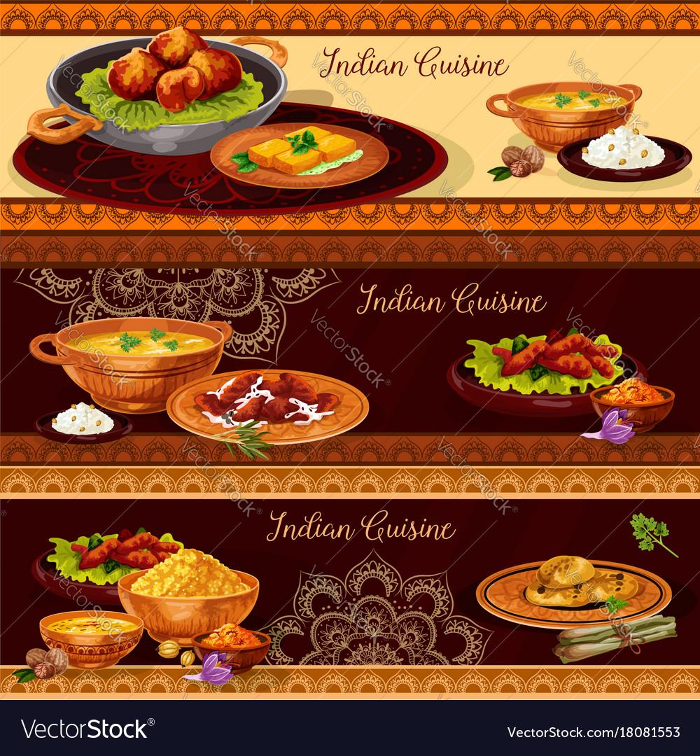 indian cuisine restaurant banner for thali design vector image