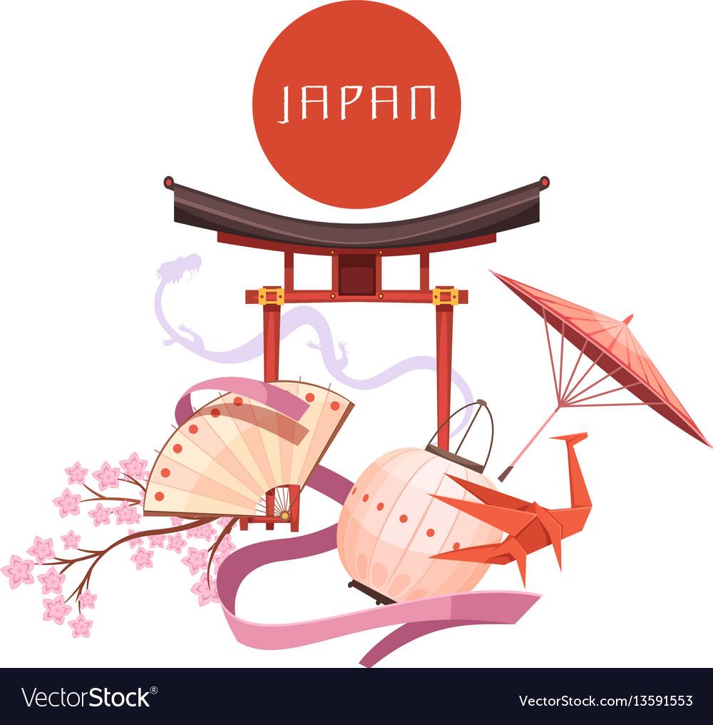 Japanese Culture Elements Retro Cartoon Vector Image