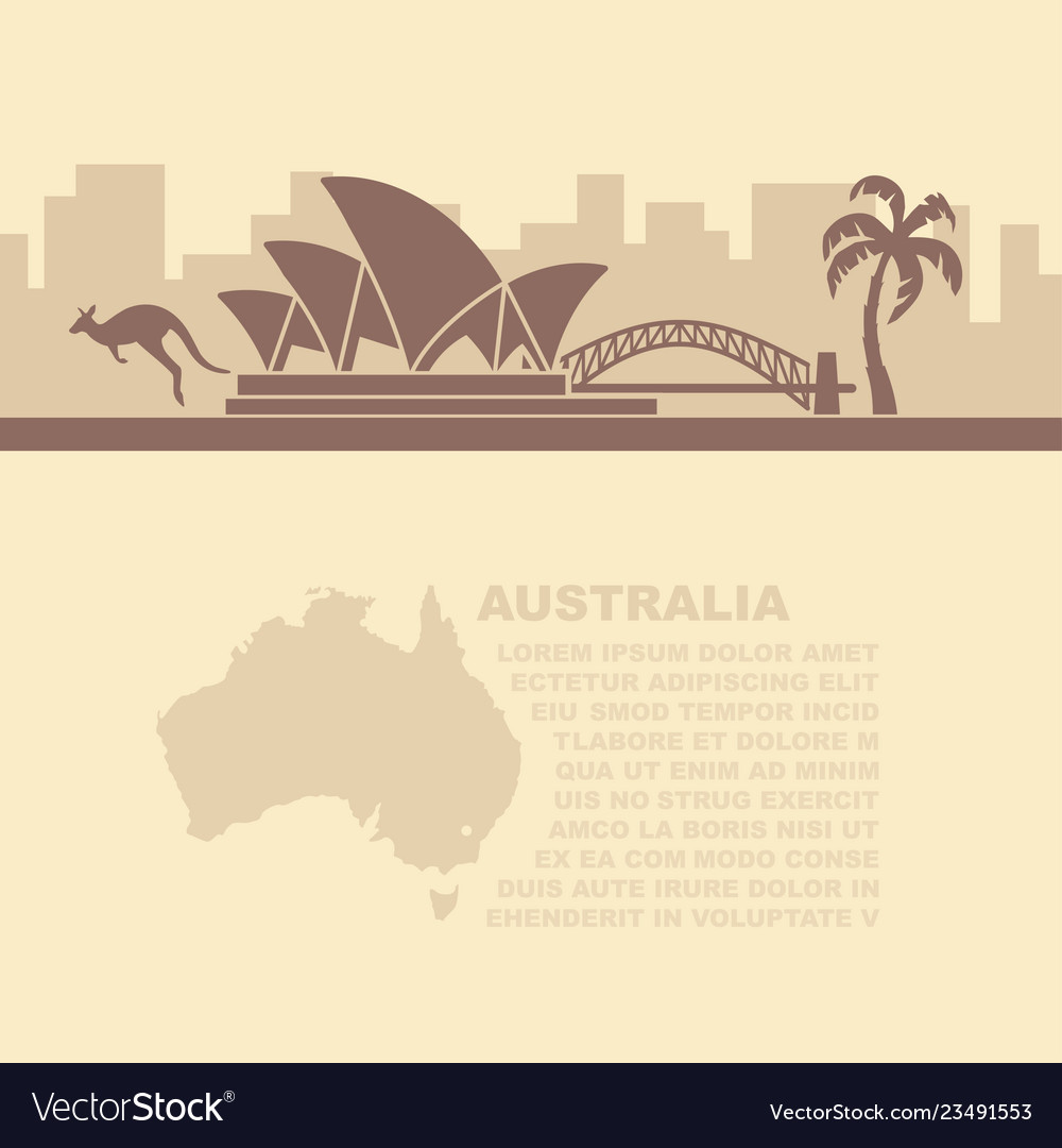 Leaflet with a map and symbols of the australia