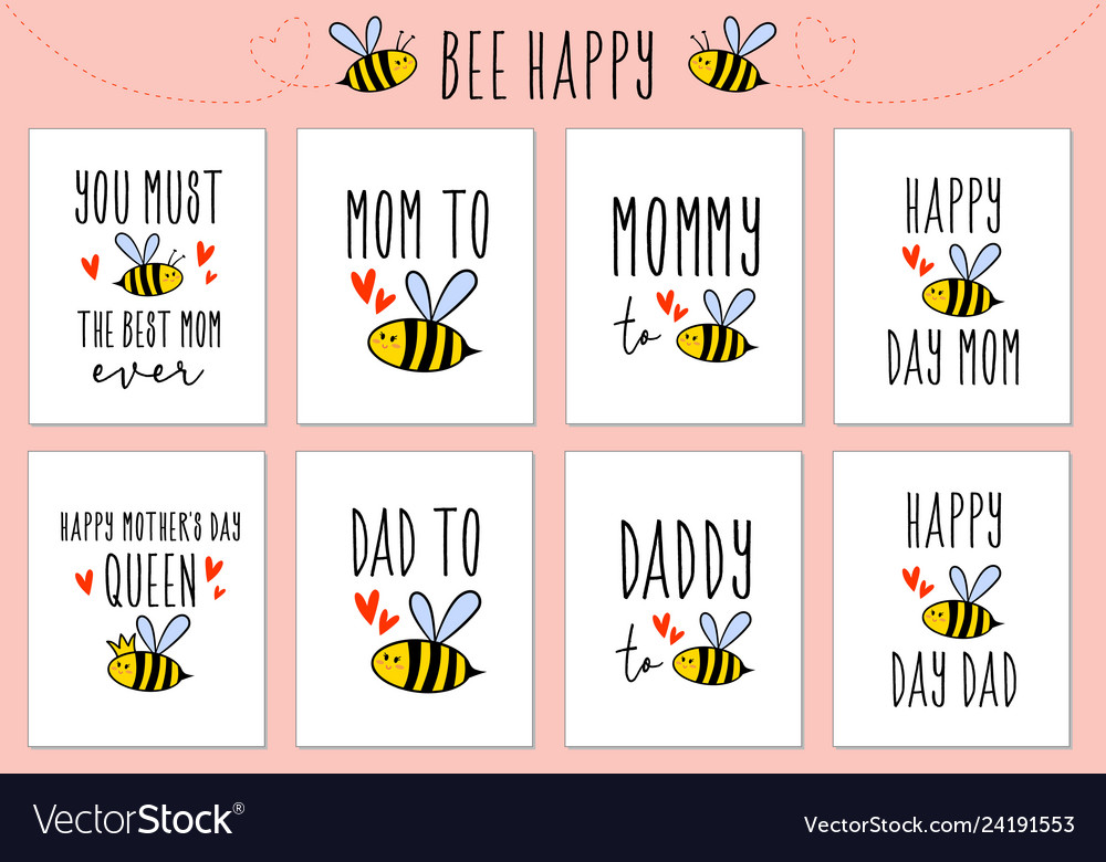 Mothers day fathers day cards with cute bee