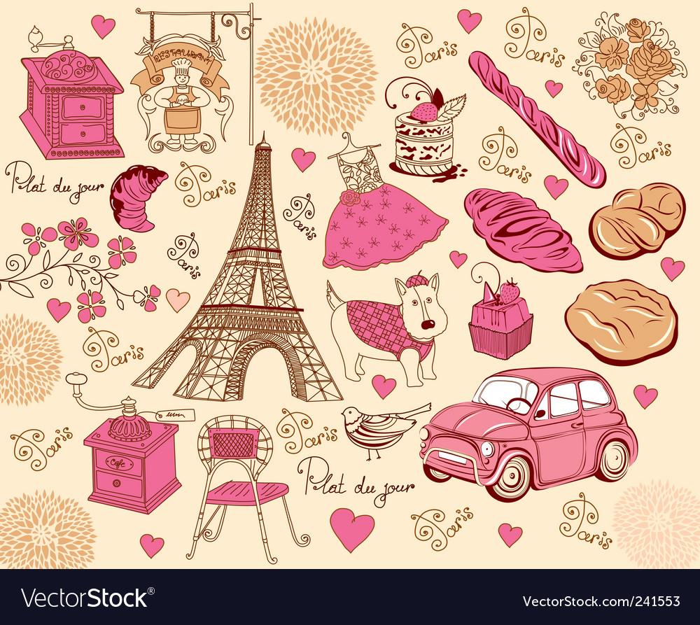 Paris design elements vector image
