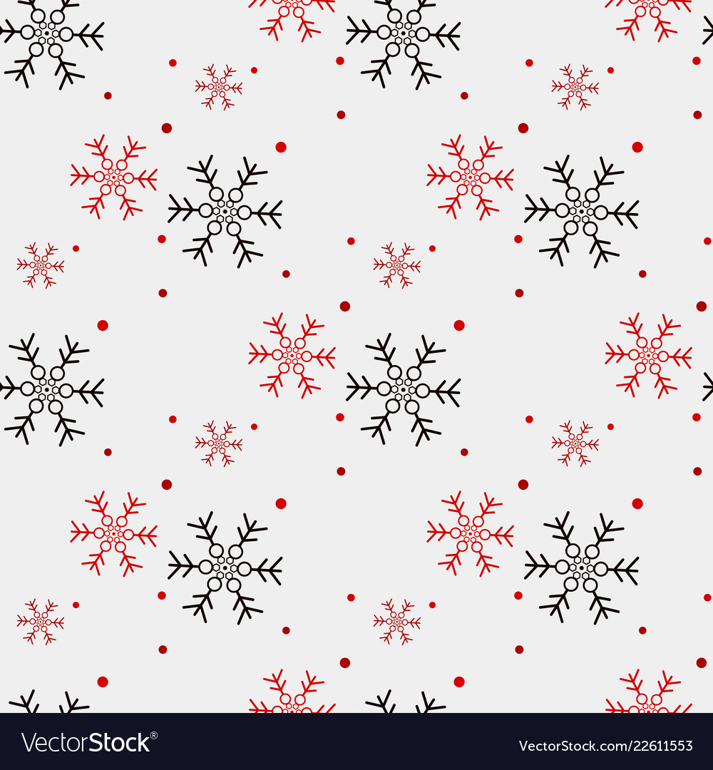 Red and black snowflake seamless pattern snow on