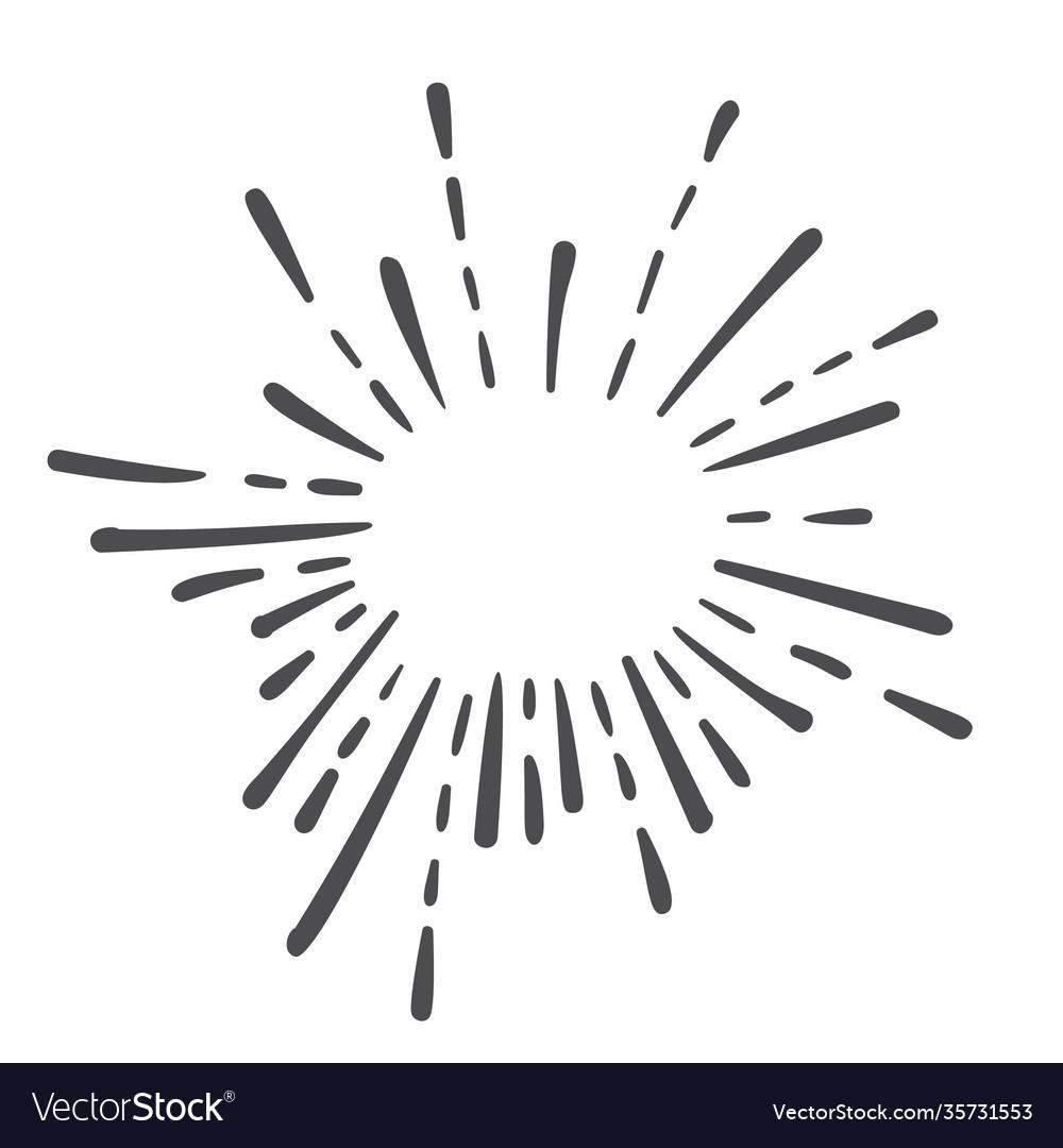 Starburst doodle hand drawn design element sun