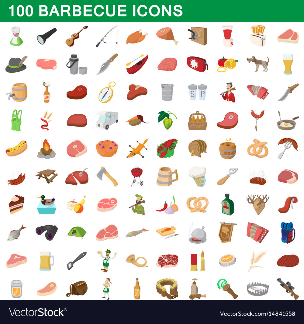 100 barbecue icons set cartoon style