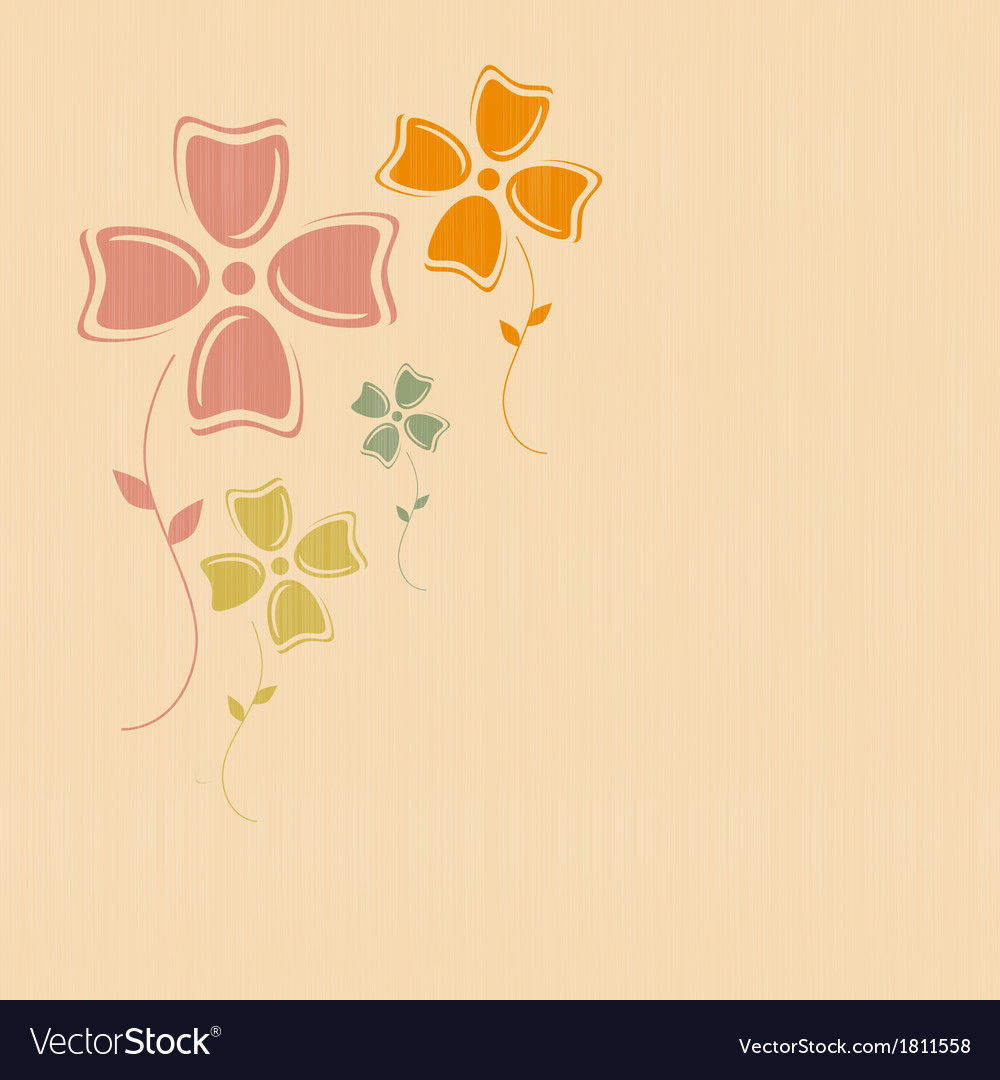 Abstract Retro Flowers on Paper Textile Background