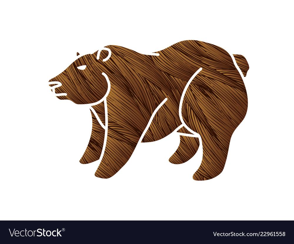 Big bear standing cartoon graphic