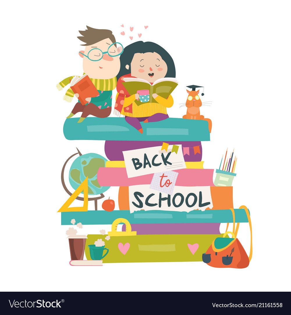 Boy and girl sitting on piles of books back to