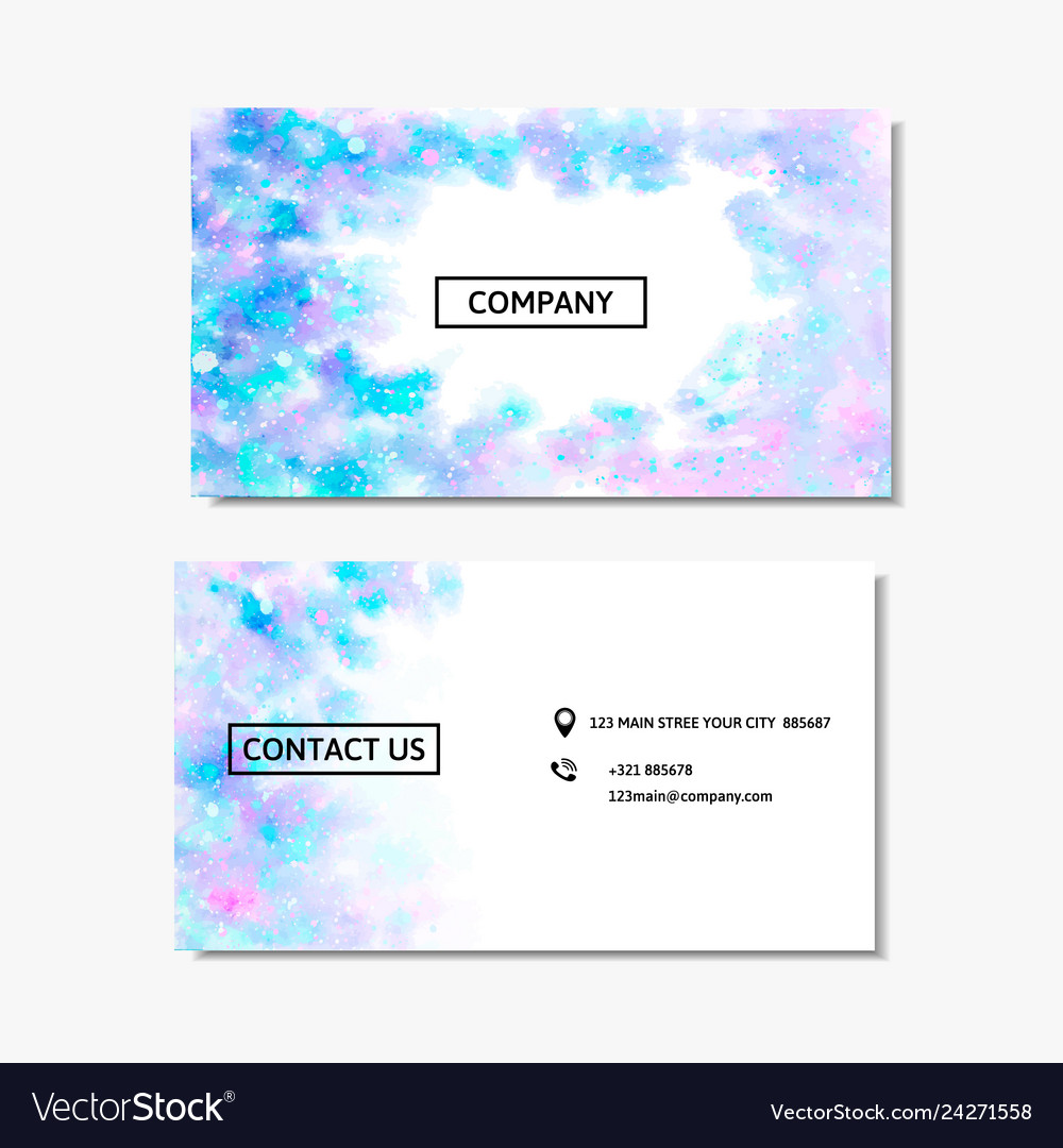 Business card with a pink and blue watercolor