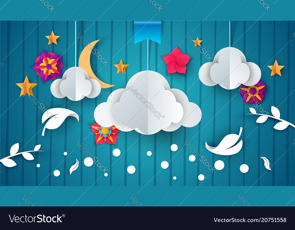 Cartoon paper cloud flower branch leaf feather