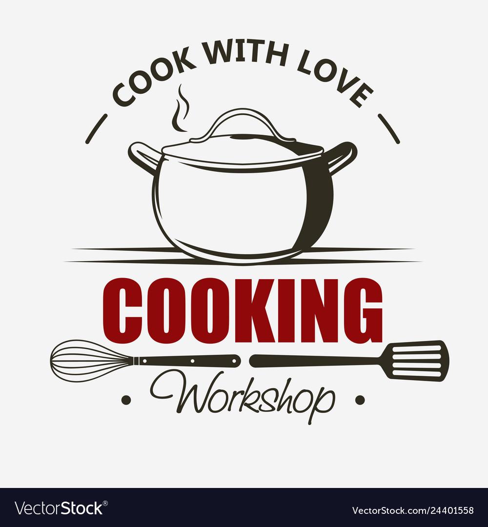 Cooking symbol emblem set saucepan cook and food