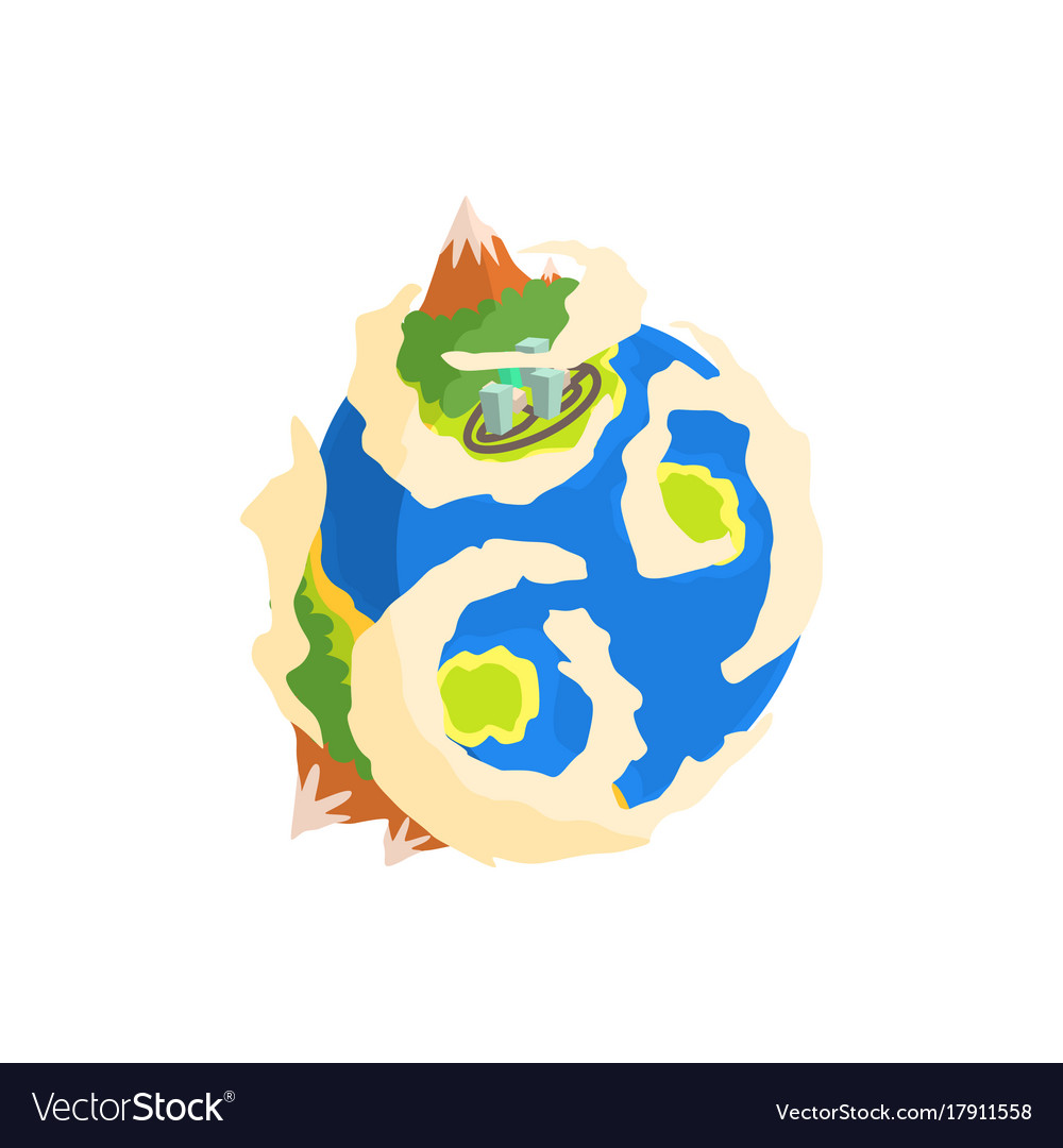 Earth planet with mountain and buildings cartoon