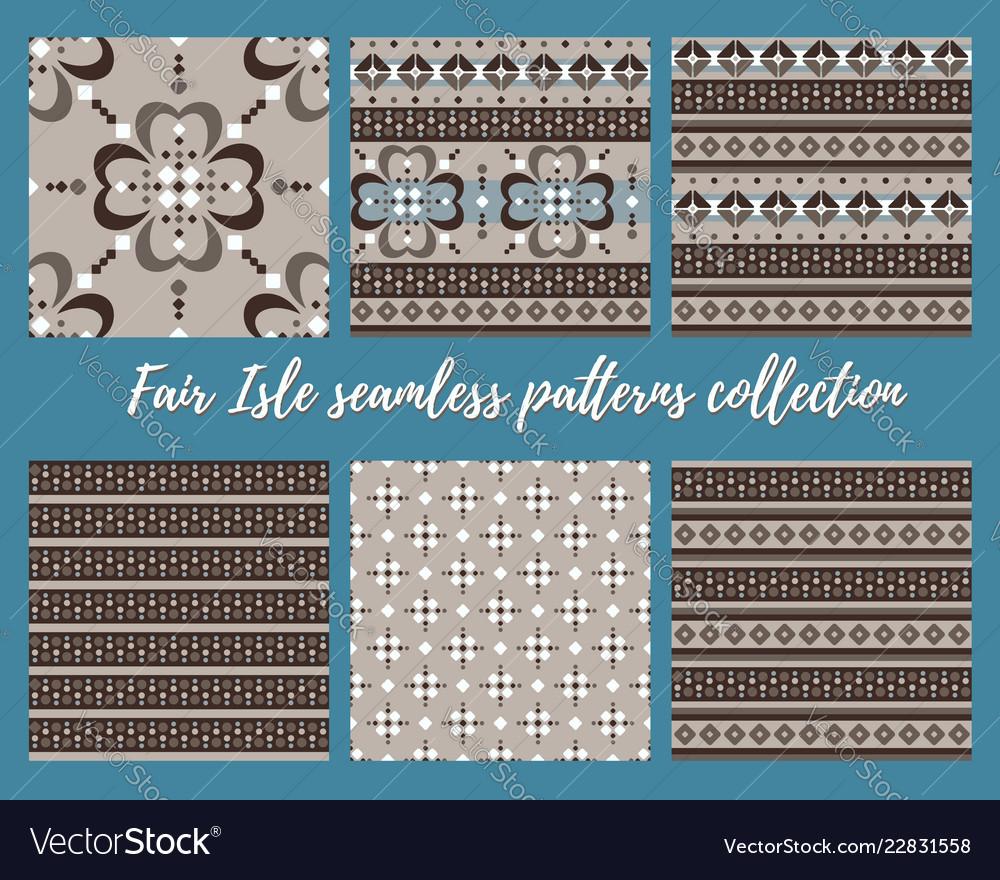 Fair isle beige brown blue white seamless pattern