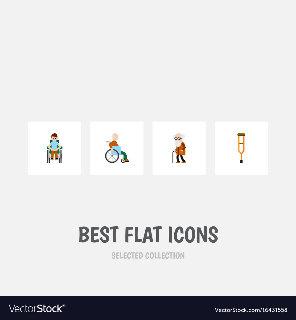 Flat icon cripple set of handicapped man disabled