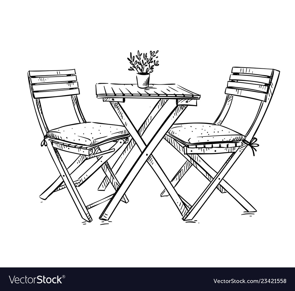 Garden furniture table and two chairs Royalty Free Vector