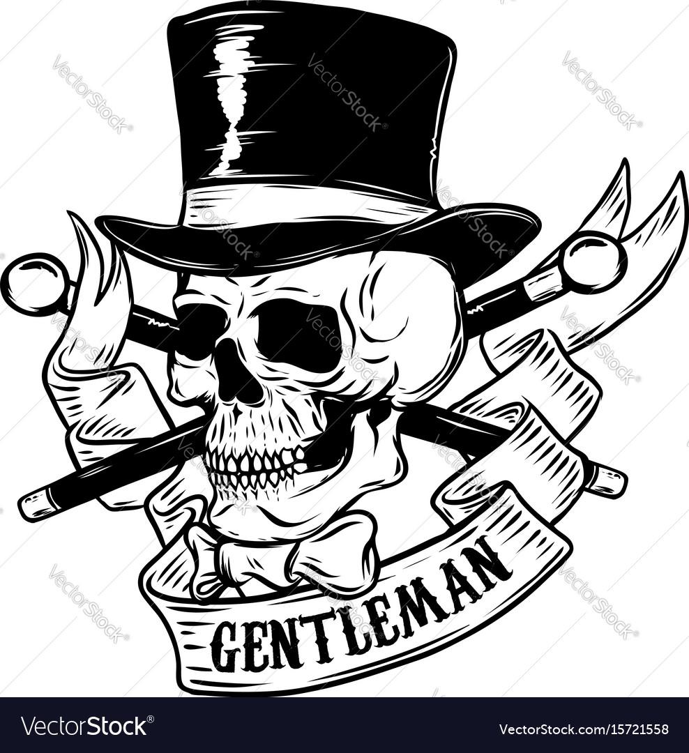Gentleman skull in vintage hat design element for