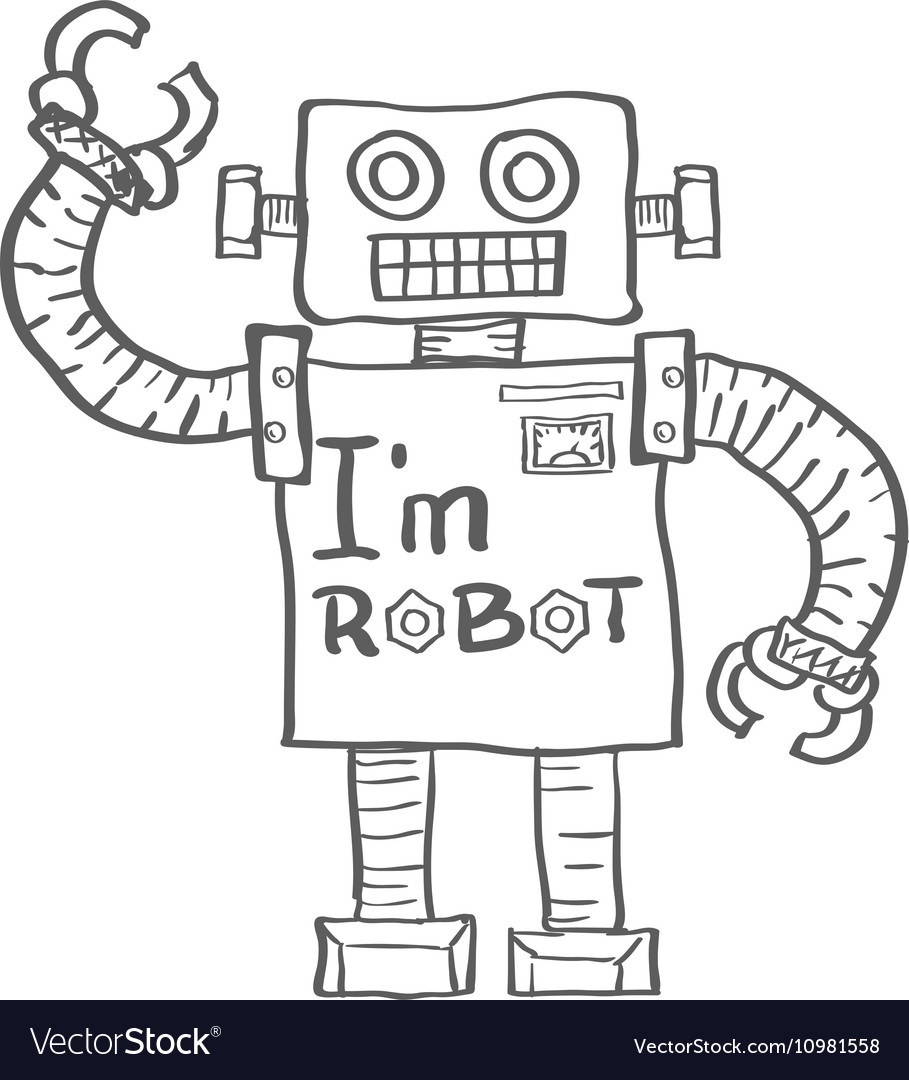Hand Drawn Robot isolated on white background