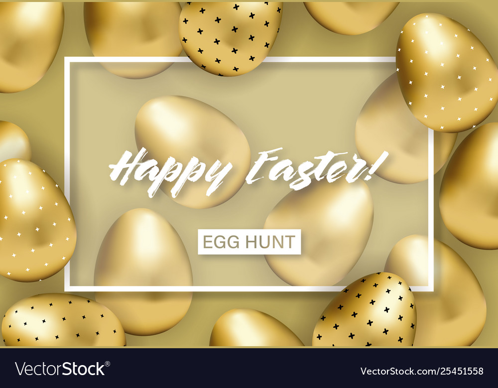 Happy easter banner with golden patterned eggs