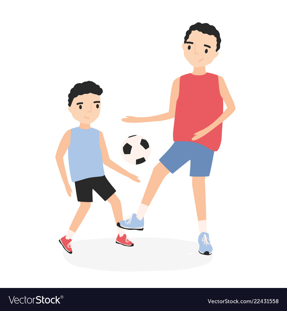 Happy father and son playing football dad and kid
