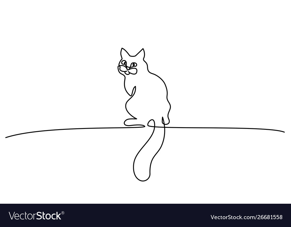 One line drawing cat sitting with big tail
