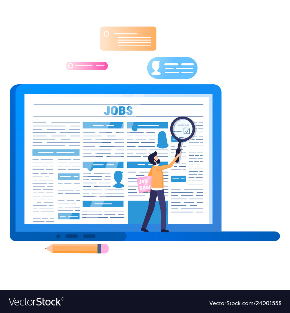 Online Job Search >> Online Job Search Laptop With Newspaper On Screen