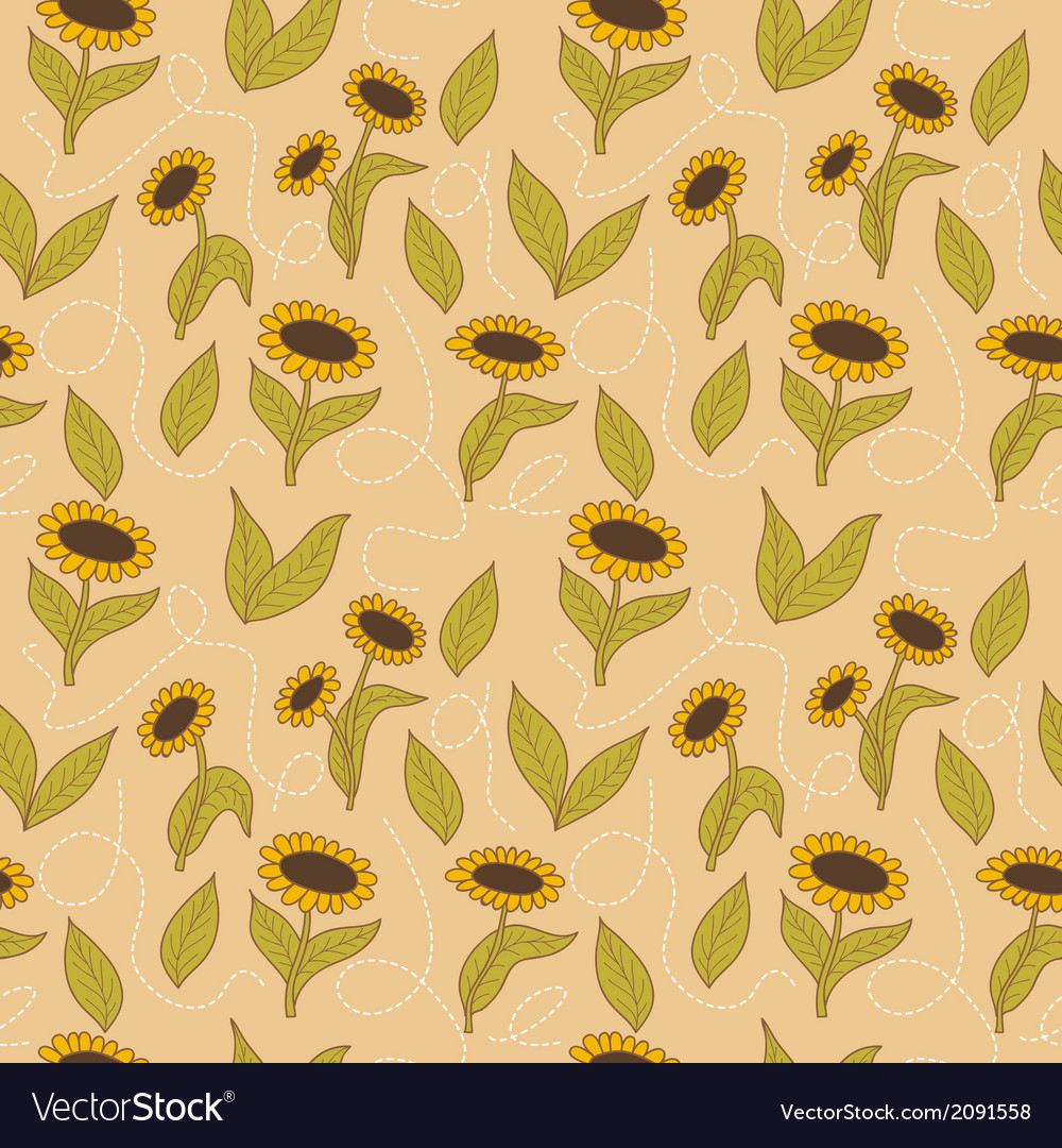 Spring seamless sunflowers background