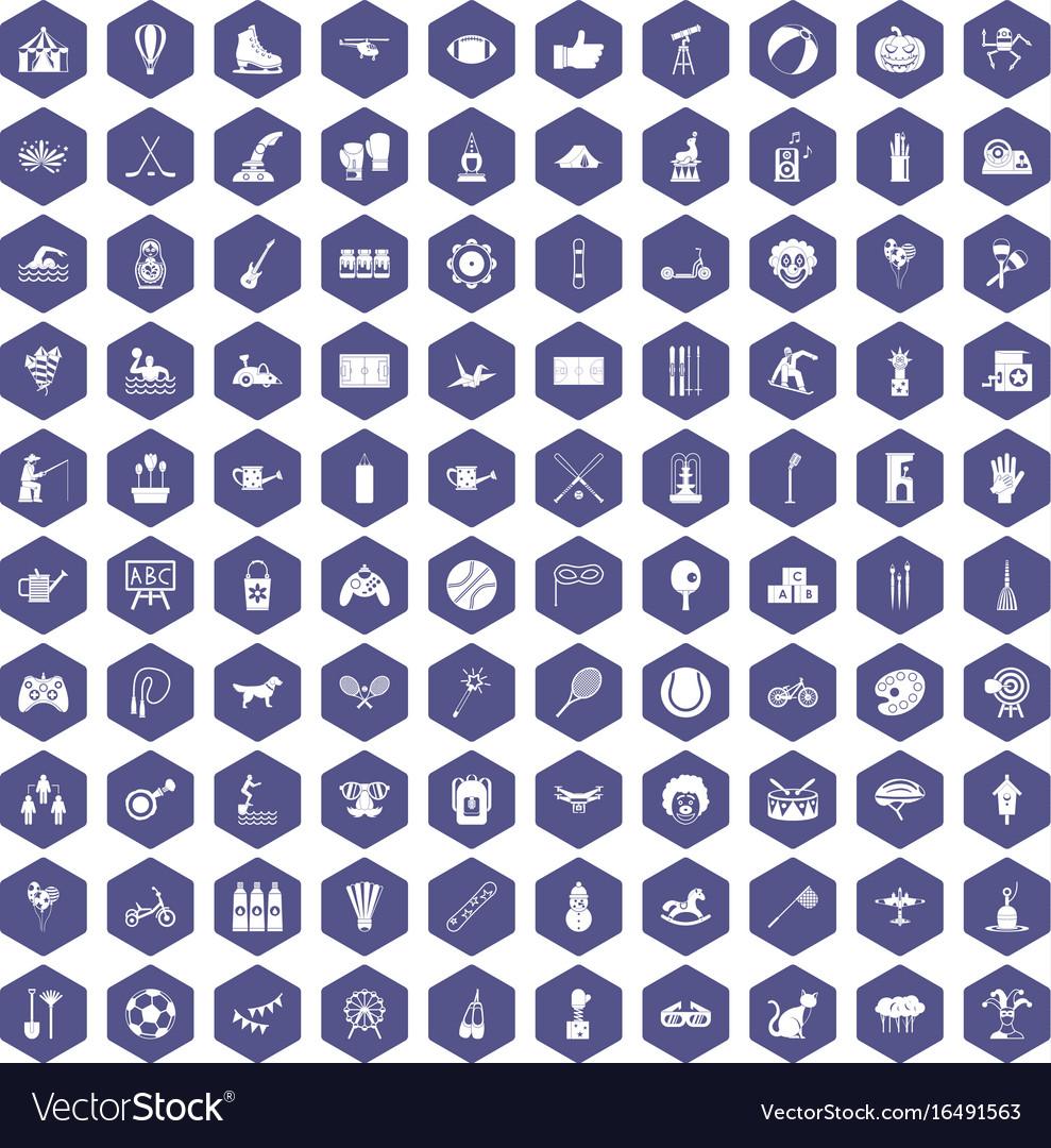100 kids activity icons hexagon purple vector image