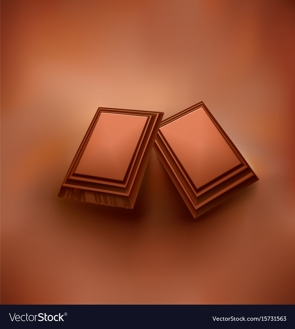 Chocolate background with piece of chocolate vector image