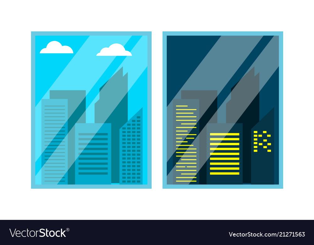 Day night window view scene skyscraper