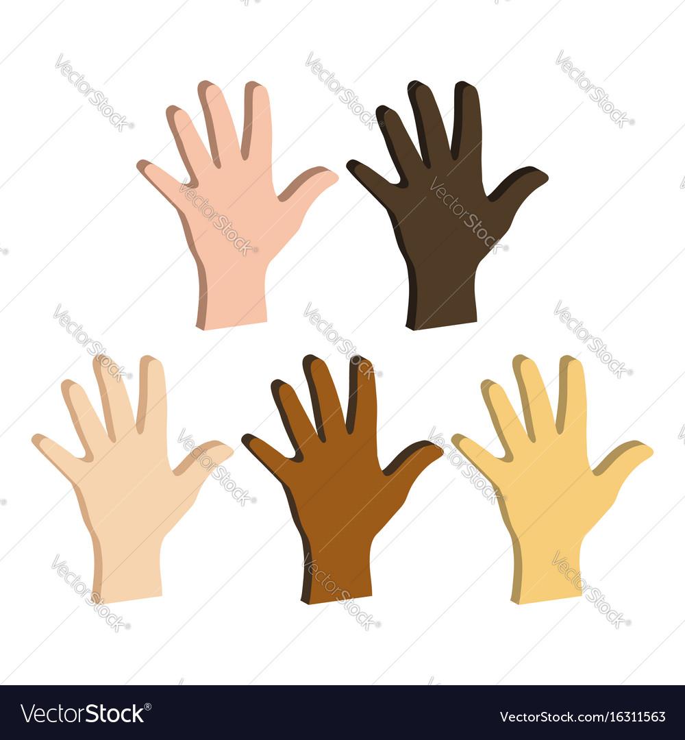 Different color hands ethnicity hands symbol flat