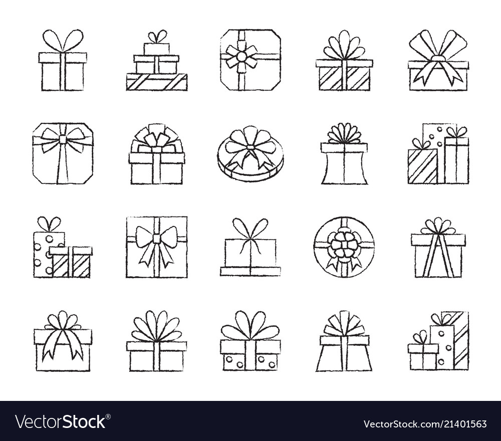 Gift charcoal draw line icons set