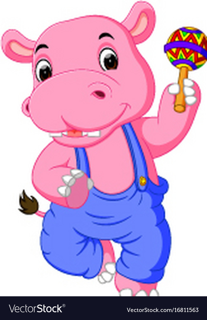 Happy hippo cartoon