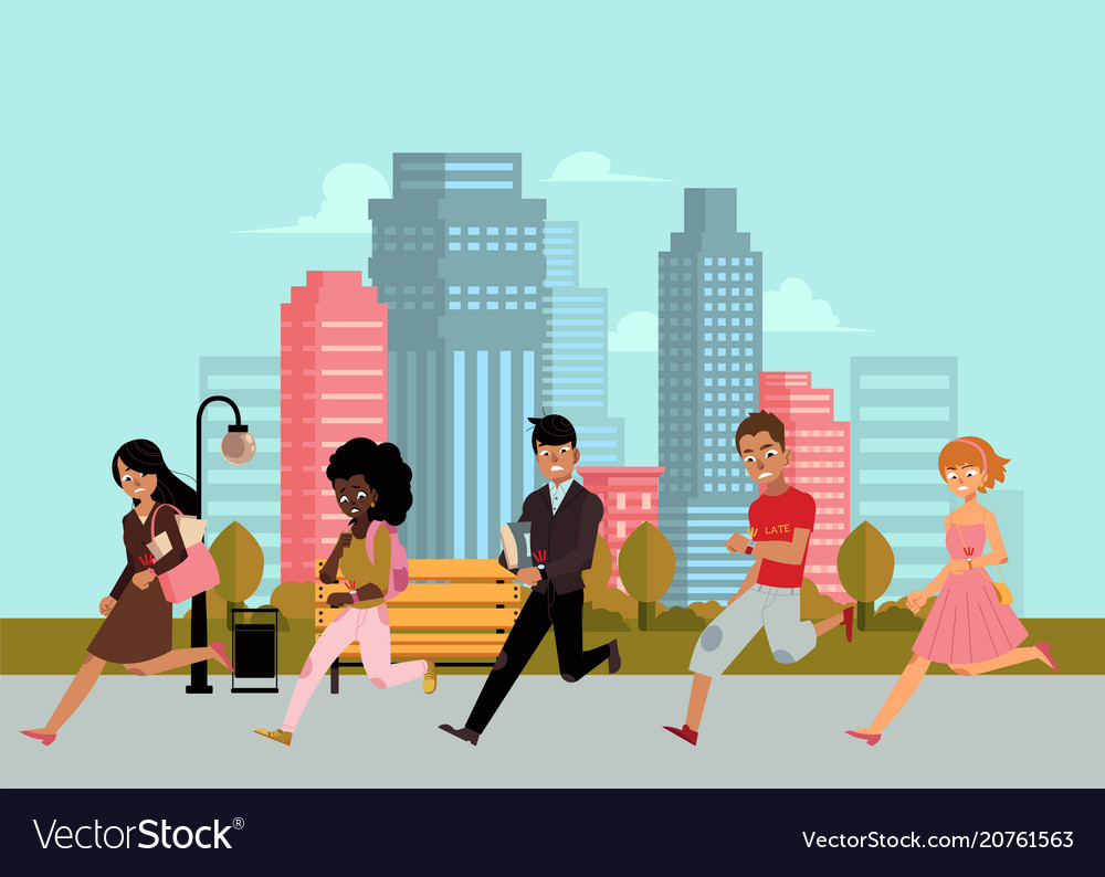 Late business people hurrying looking watch