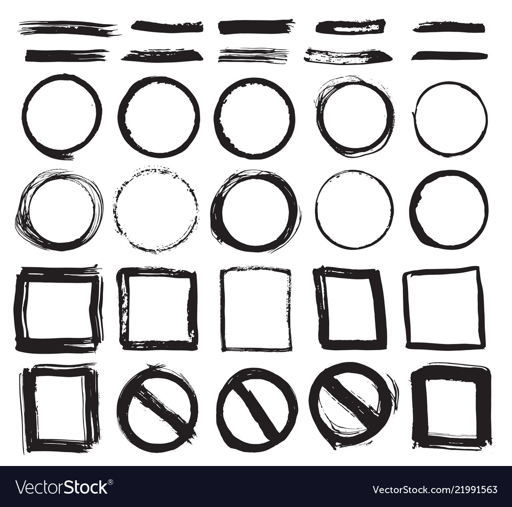 Round frames text boxes and brush strokes grunge Vector Image