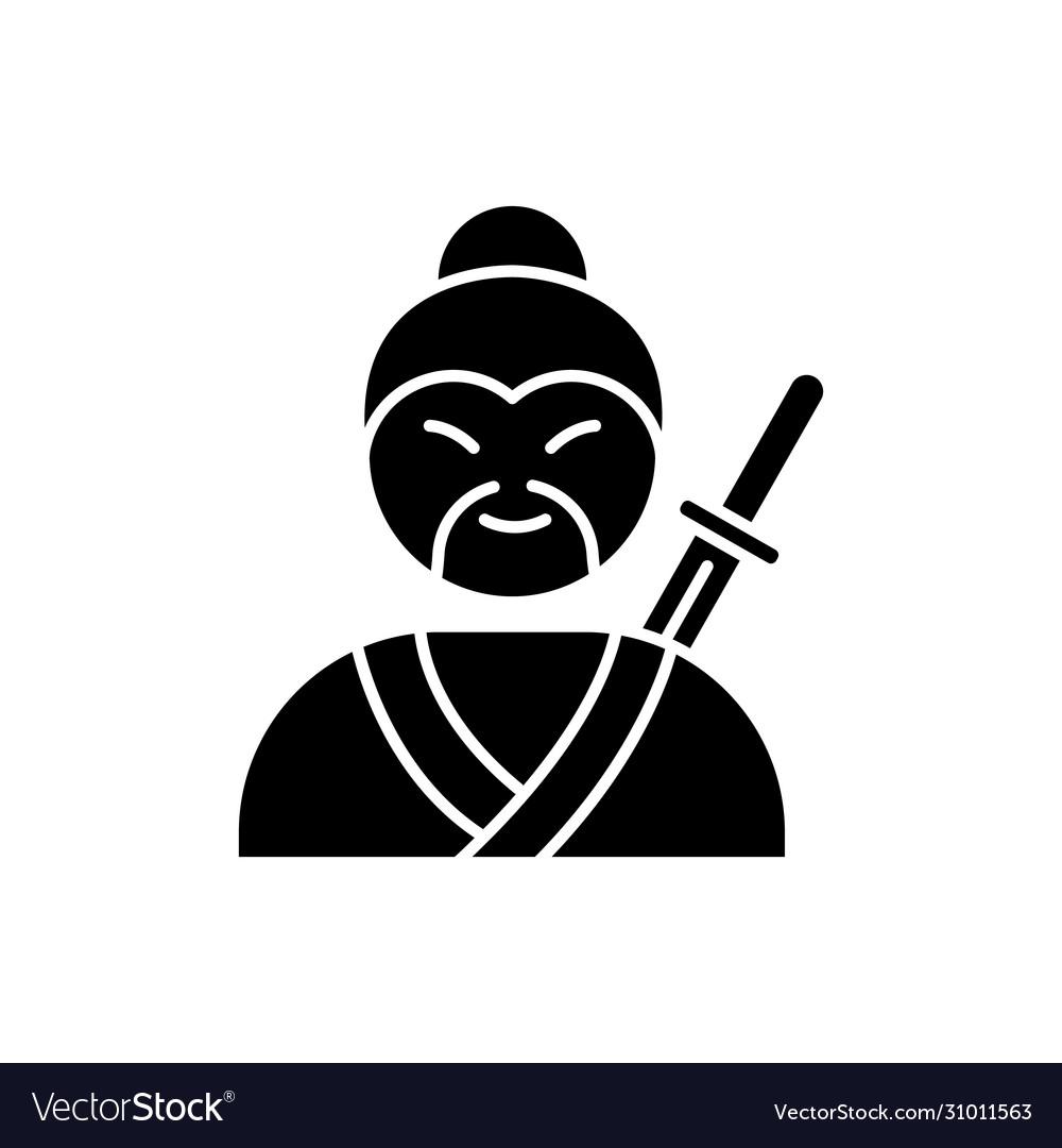 Samurai black glyph icon asian martial arts