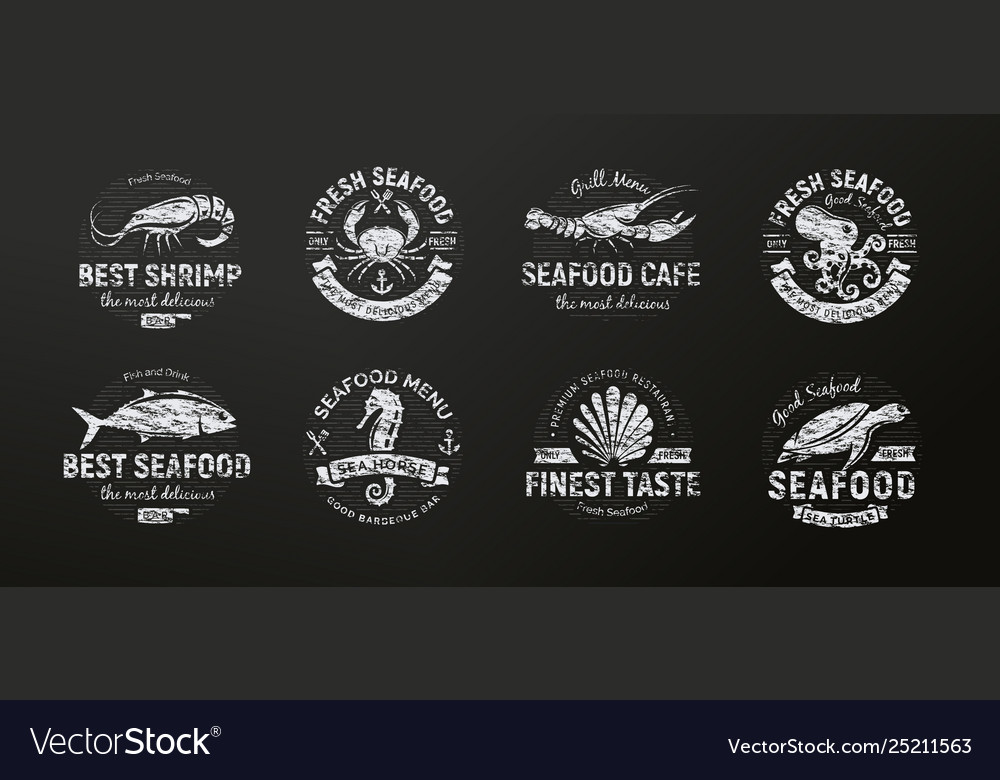 Seafood icon sea creatures animals chalked on a